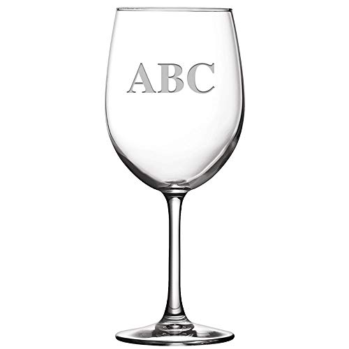 (12 oz Monogram Wine Glasses, Personalized Soiree Wine Goblet With Custom Engraving, Choose Your Letters Prime)