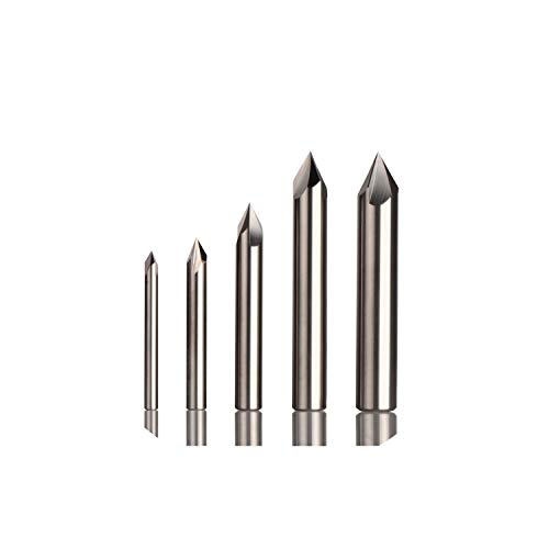 Length 2 Flute Chamfer Router - Milling Cutter CNC Carbide Chamfer Milling Cutter Aluminium Copper,60 90 120 Deg Deburring End Mill 90 Degree V Groove Router Bit,Ecn3F-D10.0-R120