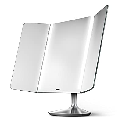 simplehuman Sensor Mirror Pro Wide View, Lighted Vanity Mirror, 1x Magnification, Adjustable Color Temperature, Wifi-Enabled