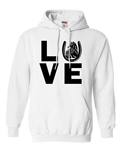 (Large White Adult Love Horses Horse Lover Equestrian Sweatshirt Hoodie)