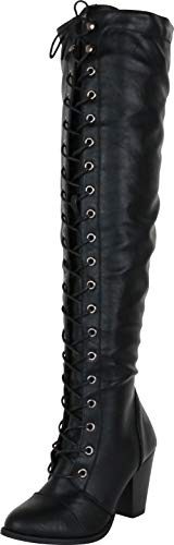 Cambridge Select Women's Closed Toe Lace-up Chunky Stacked Heel Over The Knee Boot,8 B(M) US,Black PU