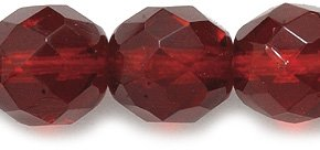 Preciosa Czech Fire 10mm Polished Glass Bead, Faceted Round, Transparent Garnet, 50-Pack