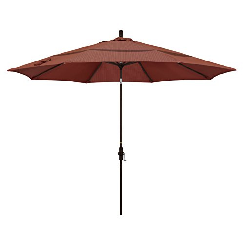 Olefin Terrace - California Umbrella 11' Round Aluminum Market Umbrella, Crank Lift, Collar Tilt, Bronze Pole, Terrace Adobe Olefin