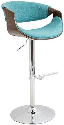 WOYBR BS WL TL Wood, Chrome, Polyester Fabric, Foam Curvo Barstool, 21 Lx21.25 Wx34-42.5 H, Teal