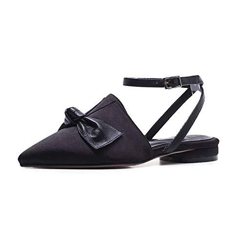 Noeud Papillon Bout Femme Black Taille Grande 33 40 Mode Décoration Hoesczs Boucle Sandales Toe Doux Femmes De Sangle Chaussures 74PFqSx