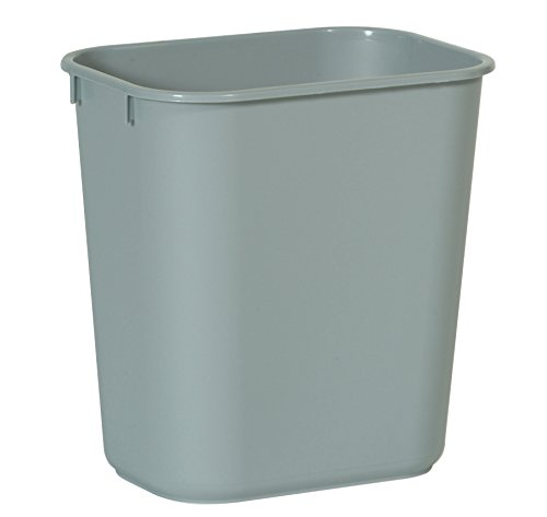 Rubbermaid Commercial Products FG295500GRAY LLDPE Rectangular Small Desk side Trash Can, 13