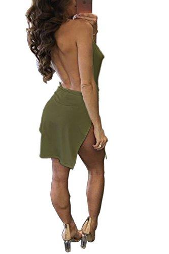 Collo Donna Verde Esercito A Vestiti Discoteca Mini Da Schienale Abiti Sexy V Laterale Abito Estate Senza Spacco Tunica Corto Con Partito Vestito Moda wOiTkZuXlP