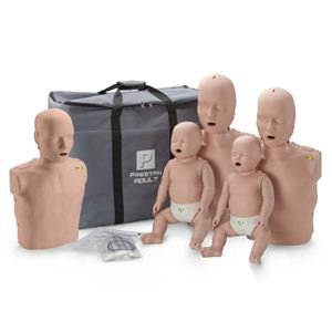 Prestan Family Pack of CPR Manikins (2 Adult, 1 Child, 2 Infant) Medium Skin with Rate Monitors, PP-FM-500M-MS
