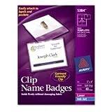 Name Badges,w/Clip,Side Load,2-1/4 quot;x3-1/2 quot,100/BX,White