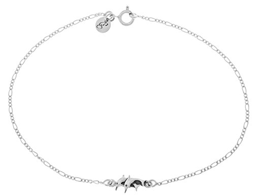 Jewelry Trends Sterling Silver Double Swimming Dolphins 9 Inch Anklet ()