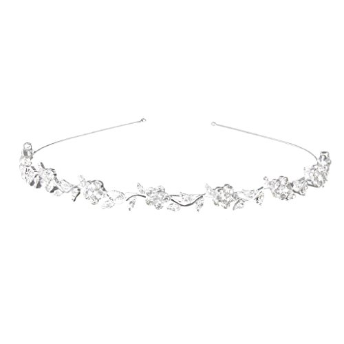 Vemonllas Women's Wedding Crystal Bridal Flower & Leaves Crown Headband Tiara Headdress Silver