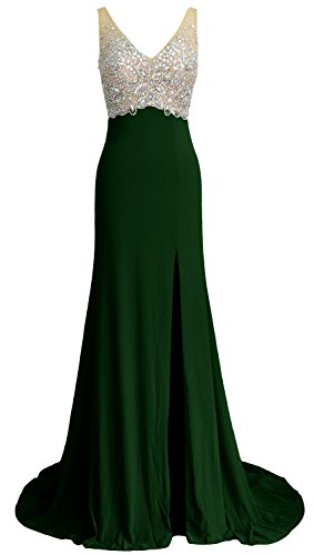 MACloth Women Mermaid V Neck Long Prom Dress Wedding Party Formal Evening Gown Verde Oscuro
