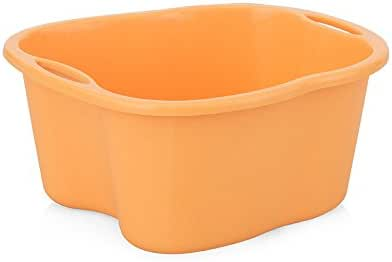 Mai Foot Tub Padded Plastic and Durable Massage Footbath Household Foot Tub Bathroom Footbath Can Be Used with Your Favorite Bath Salt and Essential Oil 32.5 * 32.5 * 41cm (Color : Orange)