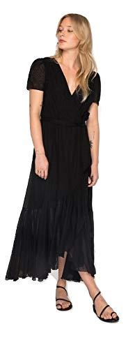 Johnny Was Women's Eyelet Short Sleeve Gauze Porfirio Wrap Dress, Black, Large -