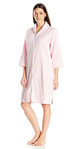 (Carole Hochman Women's Terry Velour Short Zip Robe, Light Pink, Small)