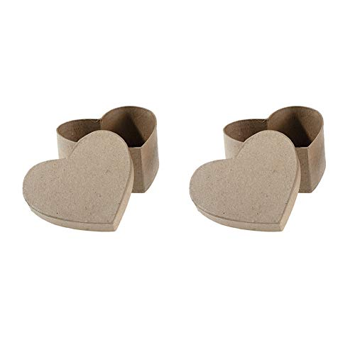 (Darice Paper Mache Box - Heart - 4-1/2 x 4-1/2 x 2 in - Pack of 2 Boxes with Lids)
