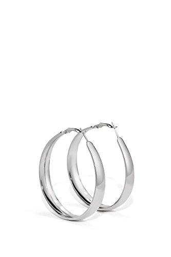 Teardrop Hoop Earrings Omega Back Shiny Metal Elongated Tube Hoops Earring Set (silver, (Elongated Teardrop Ring)