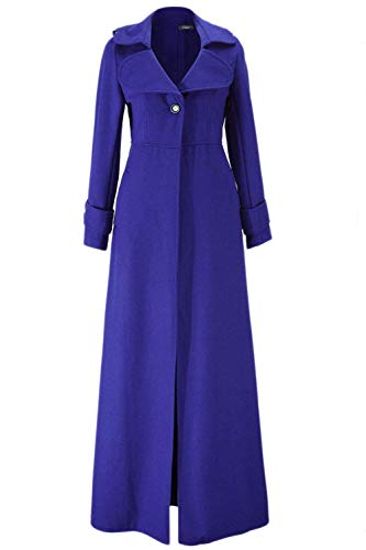 Slim Chaqueta Termica Mujer Elegantes Mujeres Abrigos Largos Unicolor Parka Larga Fit Invierno Vintage Gabardina De Battercake Casuales Manga Azul Moda Solapa Espesor Outerwear 7qXdS