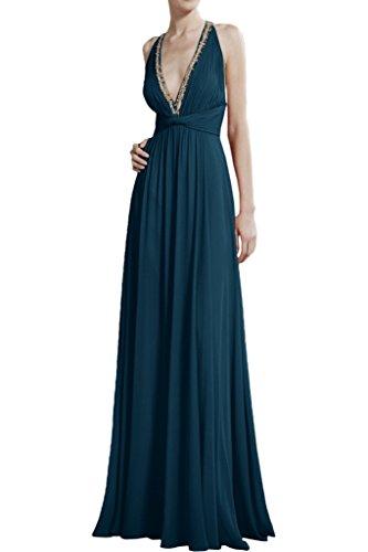 La Chiffon Blau Kleider Partykleider Abendkleider Celebrity Olive V mia Braut Dunkel Lang Gruen Ausschnitt Damen rX1rUwq