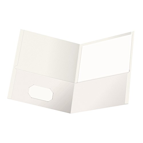 Oxford Twin-Pocket Folders, Textured Paper, Letter Size, White, Holds 100 Sheets, Box of 25 ()