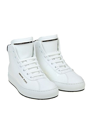 Philipp Plein Mænd A17smsc07370102 Hvide Læder Hi Top Sneakers 471u9Rph