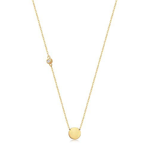 (GELIN 14k Solid Gold 0,01 ct Diamond Round Disc Pendant Chain Necklace for Women, 18