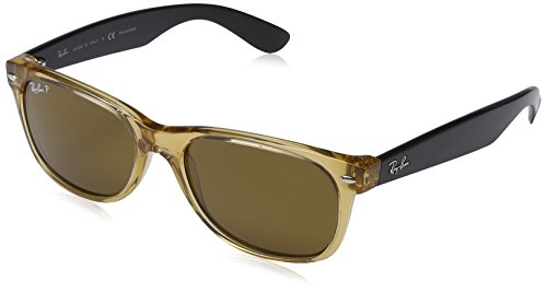 Men's New Wayfarer Polarized Square Sunglasses, HONEY, 55 - Rb2132 Polarized Ray Size Wayfarer New Ban 55mm