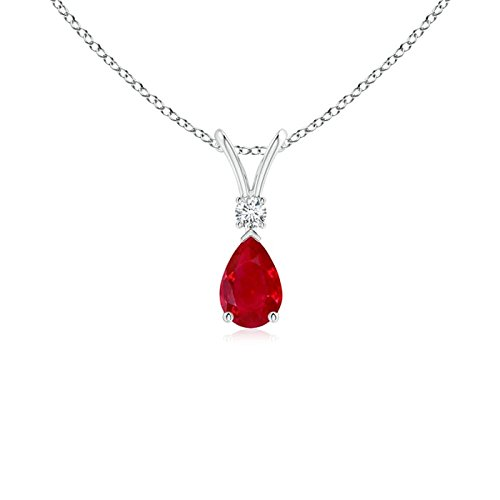 Angara Womens Natural Ruby Necklace in Platinum vNpv3loU6s