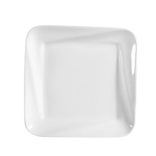 CAC China PNS-310 Princesquare 10-Inch Super White Porcelain Square Deep Plate, Box of 12
