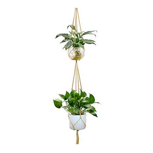Dreams Basket Cookie - Hanging Plant Hanger Hook Planter Holder Basket for Garden Home Flower Pot Hanging Indoor Outdoor Decoration Cotton Rope,Coffee Dual-Layer