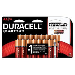 Duracell Quantum QU1500B16Z11 Alkaline-Manganese Dioxide AA Battery, 1.5V, -4 to 130 Degrees F (Pack of 16)