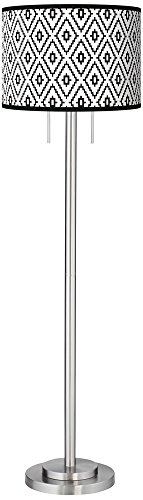 Black Diamonds Giclee Brushed Nickel Garth Floor Lamp - Exclusive Custom Giclee Shade