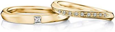 KnSam Herren Ring Rose Trauring Hochzeit Eingelegter Diamant Mit Gedrehten Reihen Von 0,10 Ct Und 0,09 Ct Für Partner Ring Paarpreis Gold