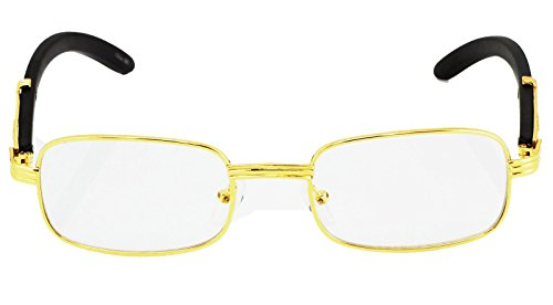 e02005e90a9 CY SUN Mens CLASSY Style Clear Lens EYE GLASSES Wooden Print Square Gold  Frame