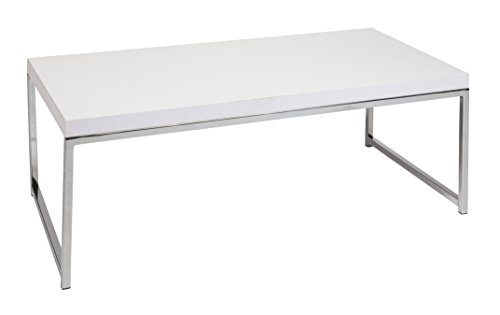 AVE SIX Wall Street Wood Veneer Coffee Table with Chrome Accents, White Review