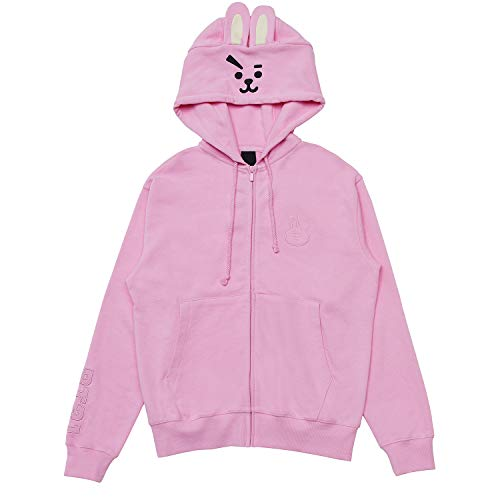 BT21 Official BTS Merchandise by Line Friends - Cooky Costume French Terry Hoodie Sweatshirts for Men and Women, Large, Pink