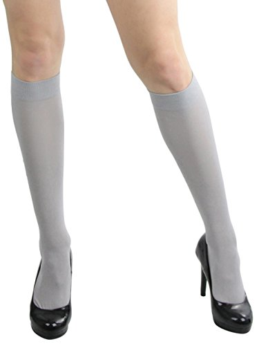 (ToBeInStyle Womens Pack of 6 Knee High Trouser Socks - Silver - One Size)