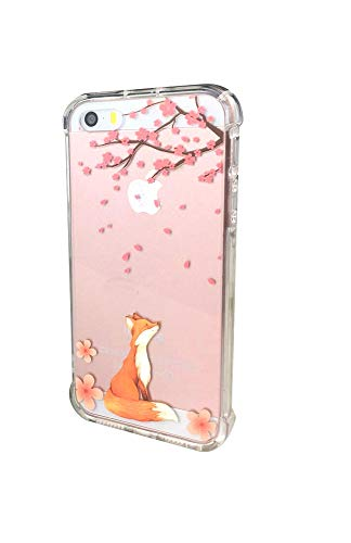 iPhone 5 Case,iPhone 5S SE Case with flowers, Ftonglogy Clear Cute Painting Design Pattern Air Cushion Shockproof TPU Bumper and PC Hard Back Non-slip Protective Case (fox cherry blossoms) (Iphone 5 Cases Pretty)