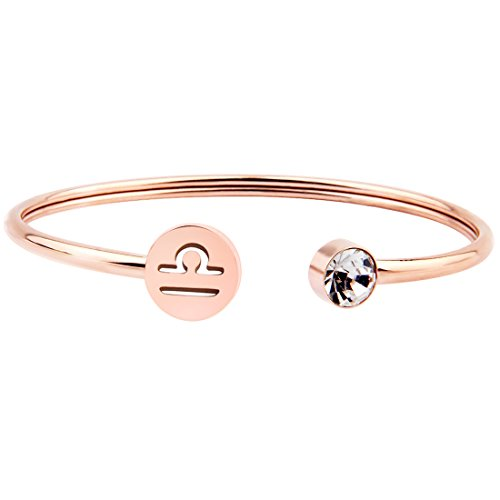 Libra Zodiac (Zuo Bao Simple Rose Gold Zodiac Sign Cuff Bracelet with Birthstone Birthday Gift for Women Girls (Libra))