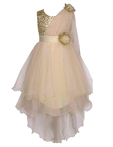 Colorful House Girls' Sequined Trailing Flower Formal Wedding Party Dress (8/7-8years, Gold 2) -