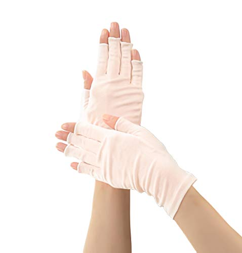 100% Mulberry Silk Half Finger Gloves | Sun and Cold Protection | Good for all seasons (Pink)