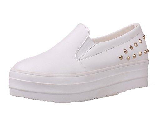 Allhqfashion Femme Pu Solide Solide À Bout Rond Talon Bas Pompes-chaussures Blanc