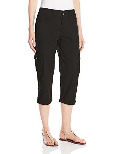 Lee Women's Missy Relaxed Fit Austyn Knit Waist Cargo Capri Pant, Black, - Travel Pants Knit Cropped