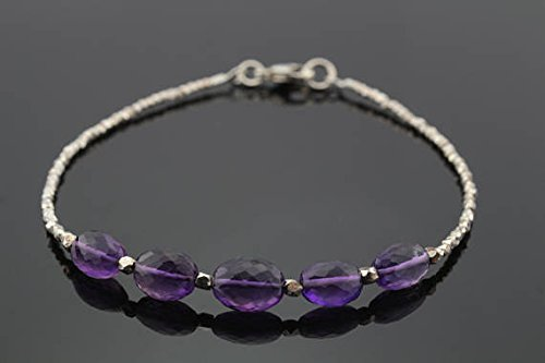 (JP_Beads Purple Amethyst Bracelet with Silver PlatedKaren Hill Tribe Faceted Beads 4x7mm)