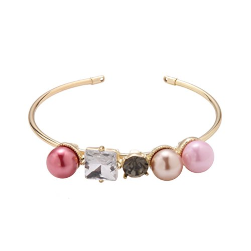 Superhai Pink Pearl Diamond Bangles Upscale Jewelry Gift Woman