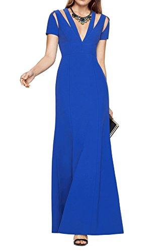 BCBG Max Azria Sapphire Womens V-Neck Cutout Gown Blue 8