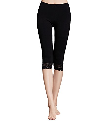 (Liang Rou Women's Mini-Ribbed Ultrathin Stretch Cropped Leggings Black Lace Trim)