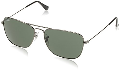 Ray-Ban Mens Caravan Non-Polarized Rectangular Sunglasses, Gunmetal, 58 - Ban Gunmetal Ray