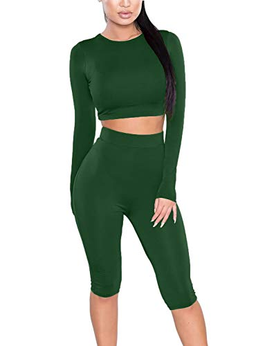 Amilia Womens Sexy Long Sleeve Crop Tops High Waist Leggings 2 Piece Bodycon Set Casual Outfit Tracksuit Army Green
