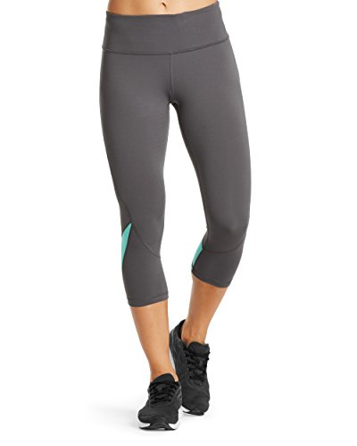 Mission Women's VaporActive System Mid-Rise Capri Leggings, Iron Gate/Pool Blue, Large